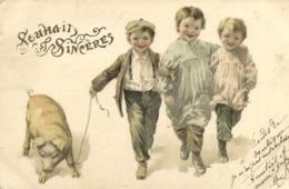 Illustrateur Souhaits Sincères Enfantes Promenant Un Cochon RV - Scènes & Paysages