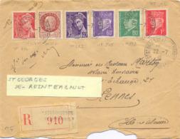 RECOMMANDÉ ST GEORGES DE REINTEMBAULT  ILLE ET VILAINE TàD 22-7-42 Affranchissement TYPE MERCURE & PÉTAIN - Postmark Collection (Covers)