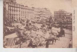 NAPOLI  VIA SANTA LUCIA MERCATO ANIMATISSIMA 1907 CARTOLINA ORIGINALE - Napoli
