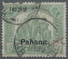 "Malaiische Staaten - Pahang: 1898, Elephants $1 Green & Pale Green Of Perak Surcharged ""Pahang."", Co - Pahang"