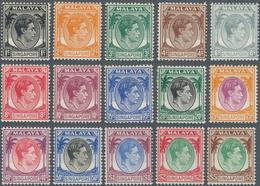 Singapur: 1948, KGVI Definitives Perf. 14 Complete Set Of 15, Mint Hinged, SG. £ 180 - Singapur (...-1959)