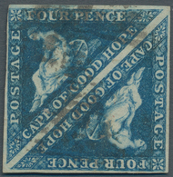 Kap Der Guten Hoffnung: 1855, 4 Pence Blue Perkins, Pair With Watermark Sideways, Scott 4d(2), SG 6c - África Del Sur (...-1961)