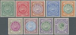 "Antigua: 1908/1913, Definitives ""Coat Of Arms/KGV"", ½d.-5s., Set Of Nine Values, Mint Original Gum P - Antigua Und Barbuda (1981-...)"