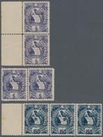 Guatemala: 1886, National Emblem Issue 5 C. Purple Two Pairs And 150 C. Dark Blue Strip Of Three Wit - Guatemala