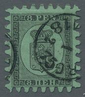 """Finnland: 1866, """"Wappen""""-Freimarke 8 Penniä Schwarz Auf Grün 2 Gestempelte Stücke Mit Dem B-Durchsti - Finland"""