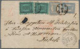 Finnland: 1871, Two Items 8 P Black On Greenish Paper And Two Items 20 P Blue On Folded Letter From - Finland