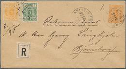 """Finnland: 1890 GSU 20 P. Mit Zus.-Frank. 5 + 20 P. Als R.-Brief Von """"KRISTINESTAD"""" Nach Bjorneborg, - Finland"""