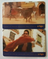 Singapore Old Phonecard SingTel Tiger Beer Used 2 Cards - Singapore