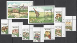 N688 UGANDA FLORA & FAUNA MUSHROOMS ANIMALS #667-74 MICHEL 36 EURO SET+2BL MNH - Pilze