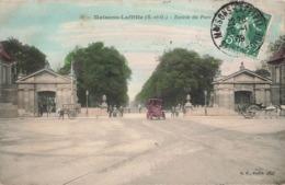 78 Maisons Laffitte Entrée Du Parc Cpa Carte Animée Colorisée Vieille Voiture Auto Automobile Cachet 1909 - Maisons-Laffitte