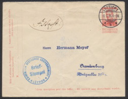 Guerre 14-18 - EP Au Type Env. 10ctm Rouge Pellens Obl à Pont Luttich 1 Vers Oranienburg / Feldpost, Censure. - Weltkrieg 1914-18