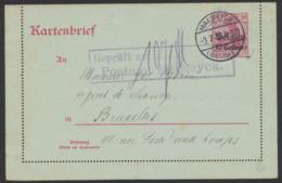 """Guerre 14-18 - EP Au Type Carte-lettre 10ctm Rouge Obl à Pont """"Maeseyck"""" + Censure Encadré 2L Vers Bruxelles. - Ganzsachen"""