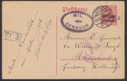 Guerre 14-18 - EP Au Type 10ctm Rouge Obl à Pont Luttich + Censure MIL CENSUUR Vers Ruremonde - Enteros Postales