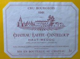 12010 - Château Lafite-Canteloup  1981 Haut Médoc - Bordeaux