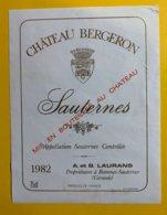12011 - Château Bergeron 1982 Sauternes - Bordeaux