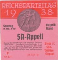 III. Reich, Eintrittskarte Zum Reichsparteitag 1938, Luitpold - Arena - Allemagne