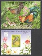 W514 FIJI FAUNA BIRDS NATURE JUNGLE FOWL OF FIJI GALLUS SINGAPORE 1997 2BL MNH - Oiseaux
