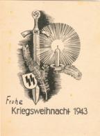 """III. Reich, Propagandakarte """" Frohe Kriegsweihnacht 1943 """" Eines SS Gefreiten Von Halle - Aachen, WHW Stempel - Weltkrieg 1939-45"""