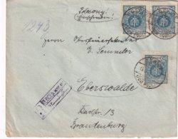 POLOGNE 1924 LETTRE RECOMMANDEE DE GEBICE AVEC CACHET ARRIVEE EBERSWALDE - 1919-1939 Republic
