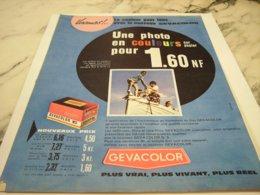 ANCIENNE  PUBLICITE PHOTO COULEURS  GEVACOLOR 1960 - Photography
