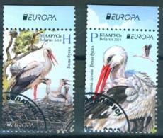 _TH Belarus 2019 Europa  Bird Birds Fauna Stork Set 2v Used - Storks & Long-legged Wading Birds
