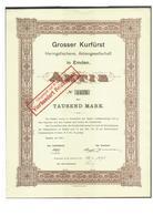 """Alte Aktien / Wertpapiere: 1921, """"Grosser Kurfürst"""" Heringsfischerei, Emden, Aktie 1000 Mark, Dekora - Hist. Wertpapiere - Nonvaleurs"""