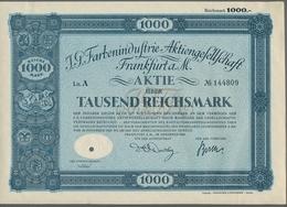 Alte Aktien / Wertpapiere: 1925-1936, Zwei Attraktive Aktien: 1000 RM I.G. Farben 1925 Und 100 RM No - Hist. Wertpapiere - Nonvaleurs