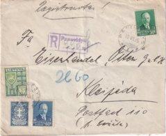 LITUANIE 1935 LETTRE RECOMMANDEE DE PANEVEZYS AVEC CACHET ARRIVEE KLAIPEDA - Lituania