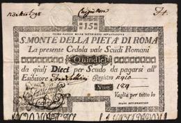 SACRO MONTE DI PIETA' ROMA 01 05 1797 15 SCUDI Forellini Bb/spl Rara LOTTO 2988 - [ 1] …-1946 : Regno