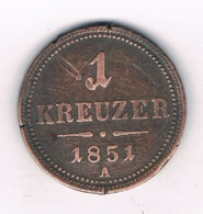 1 KREUZER 1851 A    OOSTENRIJK /8097/ - Austria