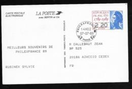 Entier Carte Postale TSC Pour Le Mondial De Philatélie 1989 . - Standard Postcards & Stamped On Demand (before 1995)