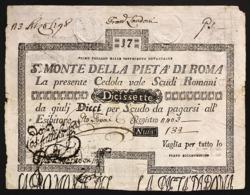 Stato Pontificio Cedola Da 17 Scudi Sacro Monte Della Pietà Di Roma  01 02 1792 Naturale R2 Lotto.2990 - [ 9] Collezioni