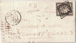 LETTRE  N°3 GRILLE T15  ST FLOUR (14) 23/01/50 Lac Arr TB Ind 13 - 1849-1850 Ceres