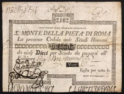 Stato Pontificio Cedola Da 18 Scudi Sacro Monte Della Pietà Di Roma  01 02 1792 Naturale R2 Lotto.2992 - [ 9] Collezioni