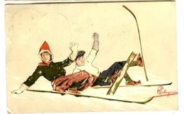 PELLEGRINI Ski Couple Falling In Snow Used In Switzerland 1908 - Ilustradores & Fotógrafos