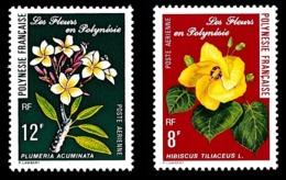 POLYNESIE 1977 - Yv. PA 126 Et 127 **   Cote= 4,50 EUR - Fleurs Hibiscus Et Plumeria  ..Réf.POL24415 - Luftpost