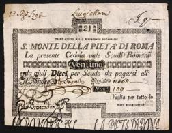 SACRO MONTE DI PIETA' ROMA 01 08 1796 21 SCUDI Ottimo Esemplare Bb/spl Mancanze R2 LOTTO 2994 - [ 1] …-1946 : Royaume