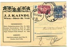 Ganzmachen Mit Briefmarke Nach Dänemark J.J.KAINDL 1921 - Ganzsachen