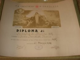 DIPLOMA P.A CROCE ROSSA RIVAROLESE 1949 - Croce Rossa