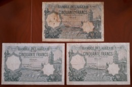 Algeria Banque De L'Algerie Small Collection Of 3 Notes (Pick 80) 50 Francs Different Dates 1924 1933 & 1937 - Algeria