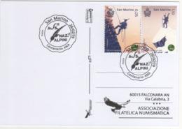 San Marino 2019 Centenario Associazione Nazionale Alpini Annullo Speciale Su Cartolina Dedicata - Militaria