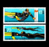 DDR / East-Germany: 'Orientierungstauchen, 1985 / 'Underwater Orienteering', Mi 2961-2962; Yv 2585-2586; Sc 2490-2491 ** - Tauchen