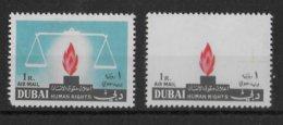 DUBAÏ - 1964 - AIRMAIL YT N°29 ** MNH - VARIETE SPECTACULAIRE COULEUR BLEU ABSENTE !! - RARE - HUMAN RIGHTS - Dubai