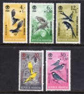 INDONESIA - 1965 SOCIAL DAY CHARITY BIRDS SET (5V) FINE MNH ** SG 1022-1026 - Indonesia