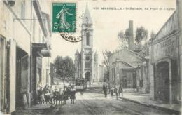 CPA 13 Bouches Du Rhone Marseille St Saint Barnabé La Place De L'Eglise Tramway Enfants - Saint Barnabé, Saint Julien, Montolivet