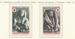 PIA  - FRANCIA  -  1973  : A Profitto Della Croce Rossa -  Sculture Del Sepolcro Di Tonnerre  - (Yv  1779-80) - Primo Soccorso