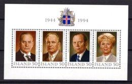 Iceland Island 1994 R MNH Block Presidents Björnsson Asgeirsson Eldjarn Finnbogadottir Politiker Politicians Politici - Famous People
