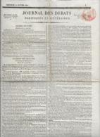Rare Le Journal Des Débats Politiques Et Littéraires - 20 Janvier 1822 - Kranten