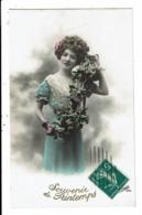 CPA-Carte Postale-FRANCE-Souvenir De Printemps- Une Dame Aux Cheveux Bouclés  -1911 VM7996 - Fêtes - Voeux