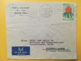 1965 BUSTA INTESTATA LIBANO LIBAN STORIA POSTALE BOLLO FIORI FLOWERS KALMIA ANNULLO OBLITERE' BEYROUTH AIR MAIL ALLEMAGN - Libano
